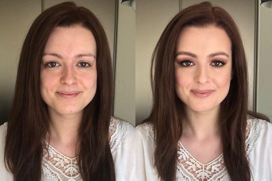 makijaż Wrocław i zdjęcie przed i po ukazujące efekt profesjonalnego makeup'u i metamorfozę młodej dziewczyny