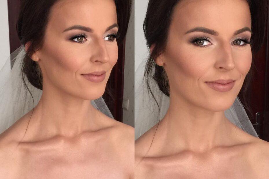 brunetka w profesjonalnym makijażu naturalnym na wesele we Wrocławiu