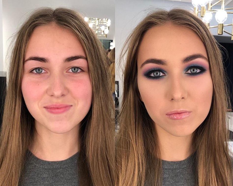 profesjonalny make up i metamorfoza przed i po przy okazji sesji