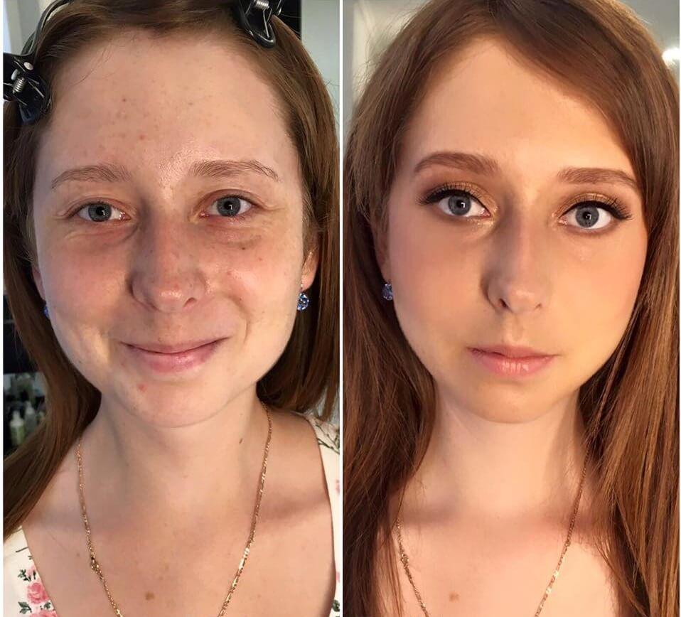 makeup okolicznościowy i metamorfoza młodej kobiety