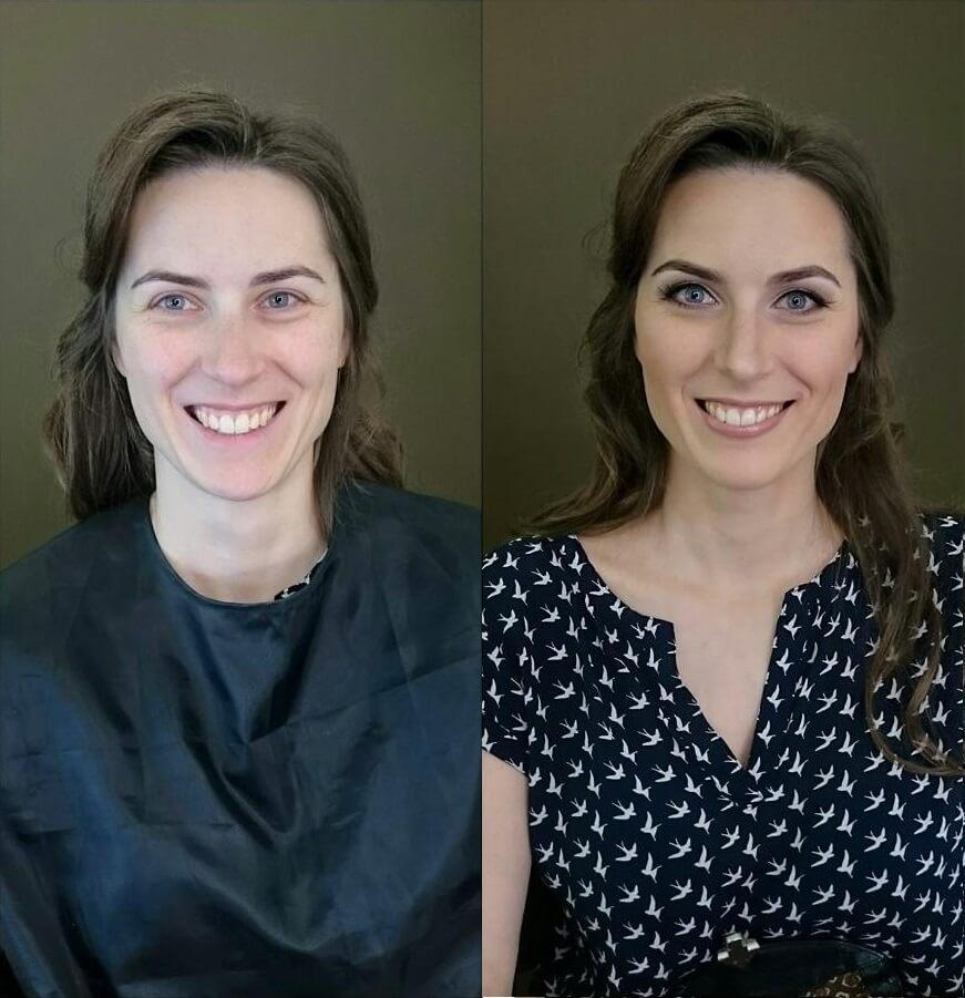 metamorfoza pokazująca przed i po wykonaniu makijażu Wrocław