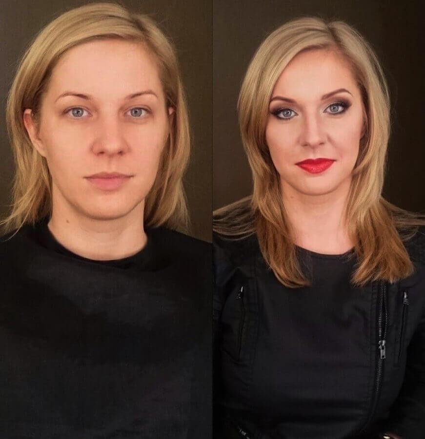 makeup Wrocław przedstawia kobietę przed i po wizycie wizażystki