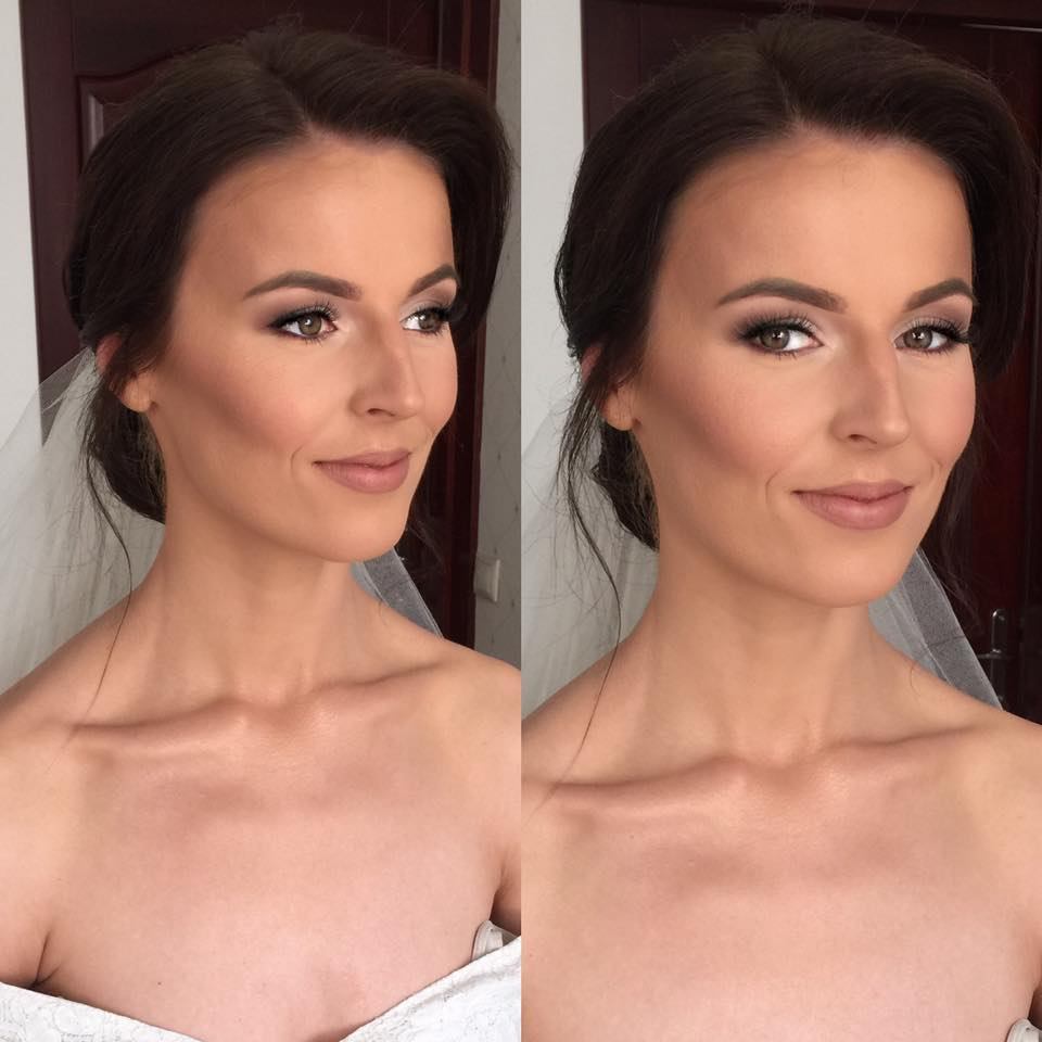profesjonalny makeup ślubny młodej kobiety